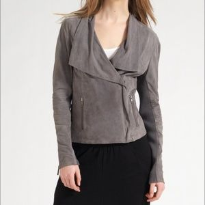 VINCE Paper Suede Leather Drape Collar Jacket Sz S
